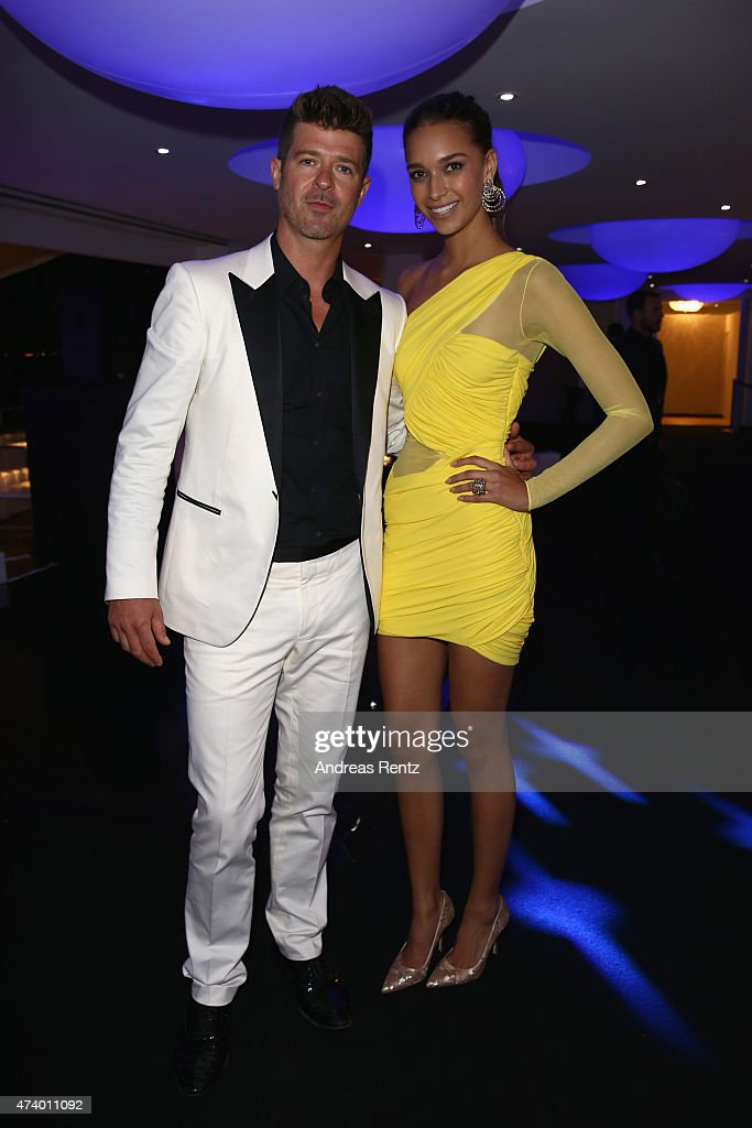 Robin Thicke and April Love Geary attend the De Grisogono party during the 68th annual Cannes Film Festival on May 19, 2015 in Cap d'Antibes, France.