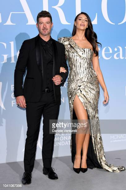 Robin Thicke and April Love Geary attend the Gala for the Global Ocean hosted by HSH Prince Albert II of Monaco at Opera of MonteCarlo on September...