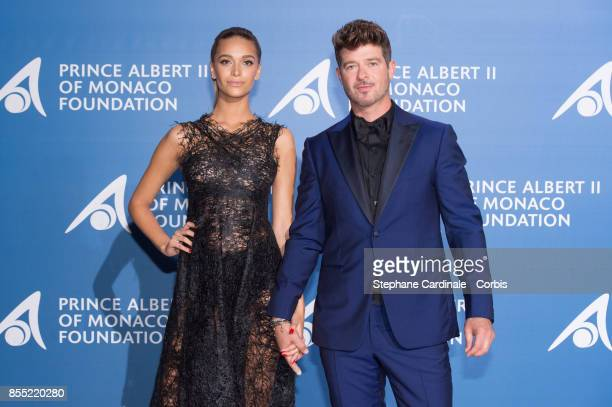 Robin Thicke and April Love Geary attend the Inaugural 'MonteCarlo Gala For The Global Ocean' Honoring Leonardo DiCaprio at The Monaco Garnier Opera...