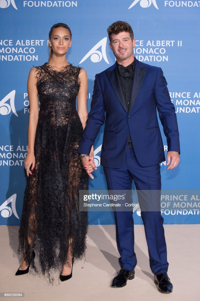 Robin Thicke and April Love Geary attend the Inaugural 'Monte-Carlo Gala For The Global Ocean' Honoring Leonardo DiCaprio at The Monaco Garnier Opera on September 28, 2017 in Monaco, Monaco.