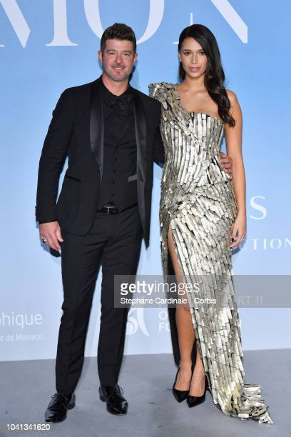 Robin Thicke and April Love Geary attend the MonteCarlo Gala for the Global Ocean 2018 on September 26 2018 in MonteCarlo Monaco