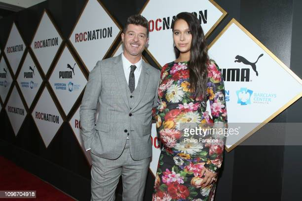 Robin Thicke and April Love Geary attends 2019 Roc Nation THE BRUNCH on February 9 2019 in Los Angeles California