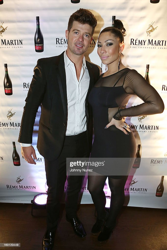 Robin Thicke and Bridget Kelly attend the Remy Martin V.S.O.P Ringleader Culmination Event with Robin Thicke at Marquee on March 4, 2013 in New York City.