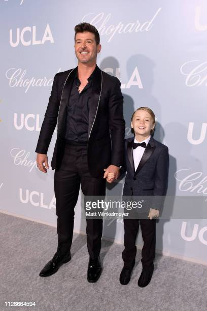 Robin Thicke and guest attend the UCLA IoES honors Barbra Streisand and Gisele Bundchen at the 2019 Hollywood for Science Gala on February 21 2019 in...