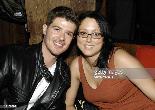 Robin Thicke and Jessica Schimmel of InTouch during Nia Long's Birthday Celebration at Cain November 8 2005 at Cain in New York City New York United...