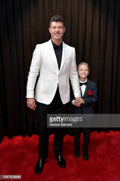 Robin Thicke and Julian Fuego Thicke attend the 61st Annual GRAMMY Awards at Staples Center on February 10 2019 in Los Angeles California