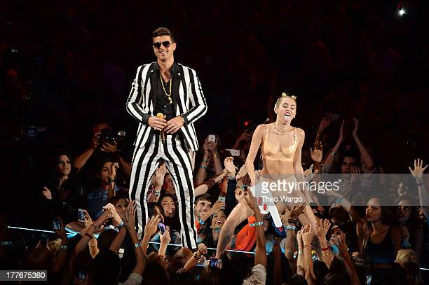 Robin Thicke and Miley Cyrus perform during the 2013 MTV Video Music Awards at the Barclays Center on August 25 2013 in the Brooklyn borough of New...