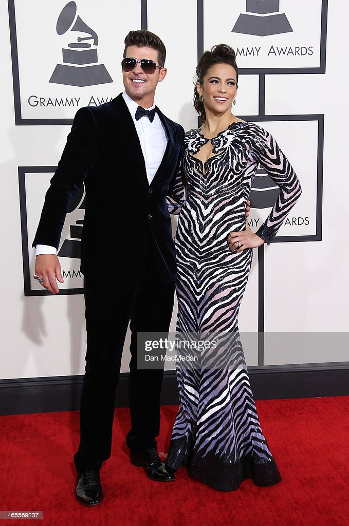 Robin Thicke and Paula Patton arrive at the 56th Annual GRAMMY Awards at Staples Center on January 26, 2014 in Los Angeles, California.