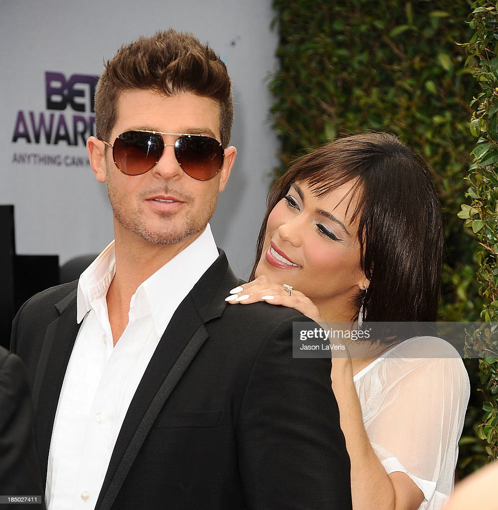 Robin Thicke and Paula Patton attend the 2013 BET Awards at Nokia Theatre L.A. Live on June 30, 2013 in Los Angeles, California.