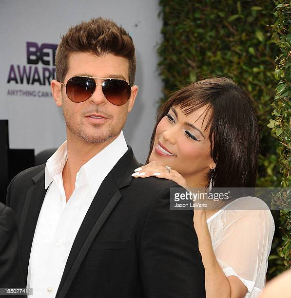 Robin Thicke and Paula Patton attend the 2013 BET Awards at Nokia Theatre LA Live on June 30 2013 in Los Angeles California