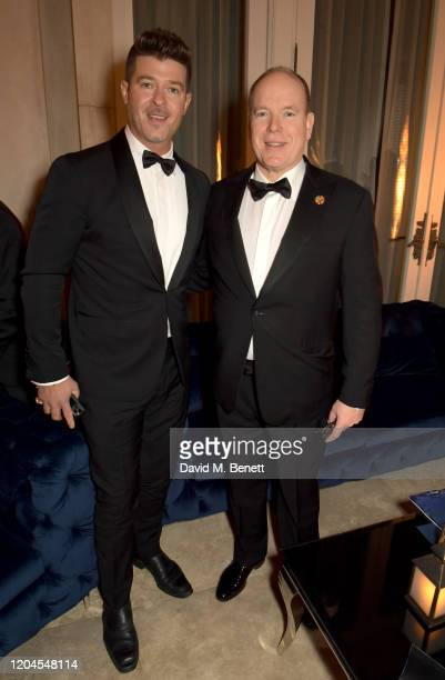Robin Thicke and Prince Albert II of Monaco attend the 2020 Hollywood For The Global Ocean Gala honoring HSH Prince Albert II of Monaco at Palazzo di...