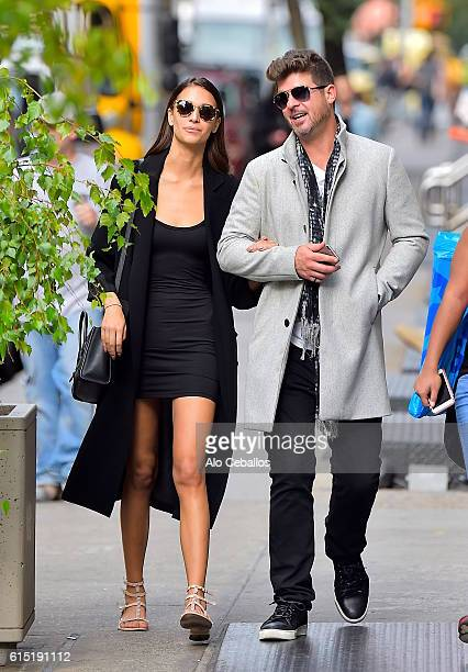 Robin Thicke April Love Geary are seen in Soho on October 17 2016 in New York City