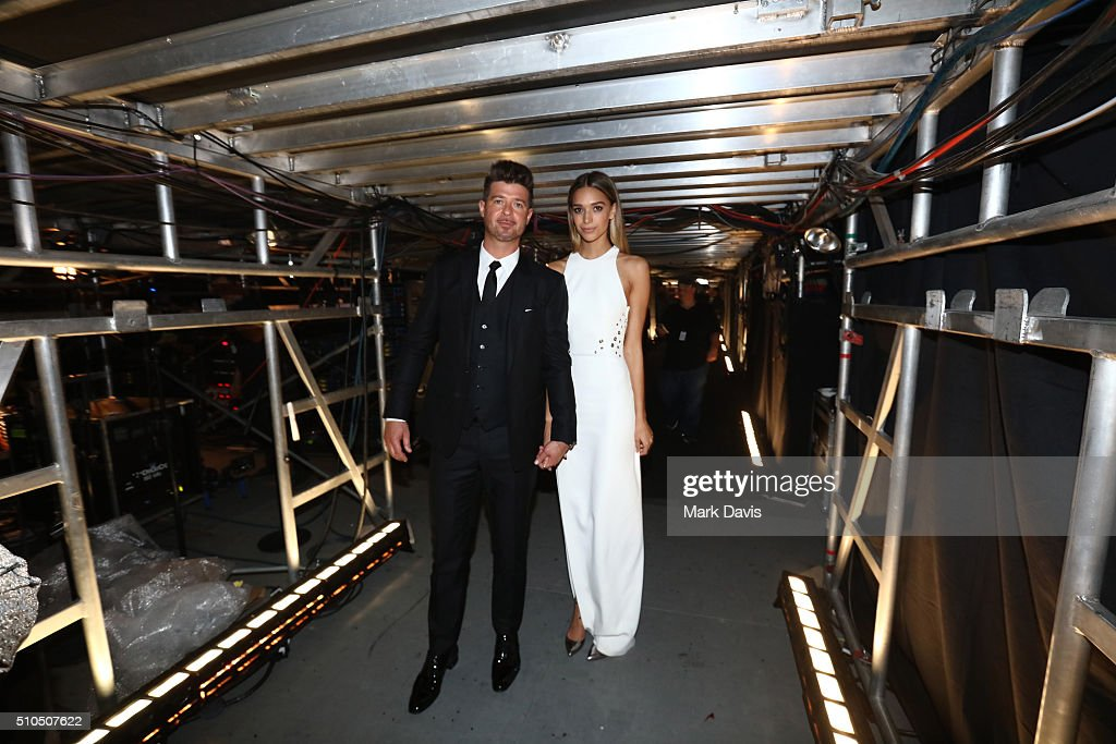 Robin Thicke (L) April Love Geary attend The 58th GRAMMY Awards at Staples Center on February 15, 2016 in Los Angeles, California.
