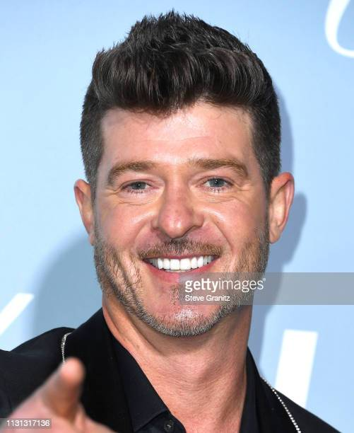 Robin Thicke arrives at the Hollywood For Science Gala at Private Residence on February 21, 2019 in Los Angeles, California.