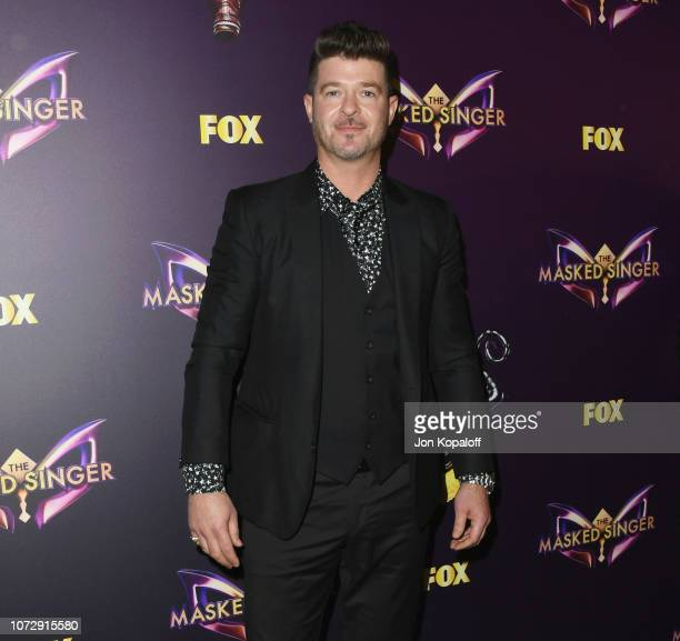 Robin Thicke attends Fox's The Masked Singer Premiere Karaoke Event at The Peppermint Club on December 13 2018 in Los Angeles California