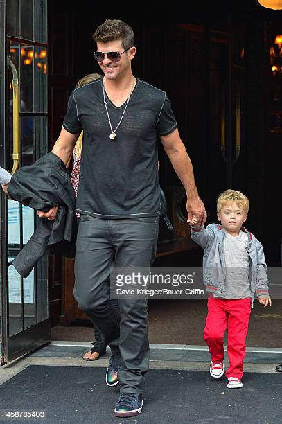 Robin Thicke is seen with his son Julian Fuego Thicke on July 17 2013 in New York City