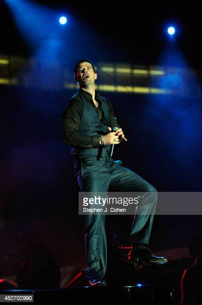 Robin Thicke performs during day 1 of the Macy's Music Festival at Paul Brown Stadium on July 25 2014 in Cincinnati Ohio