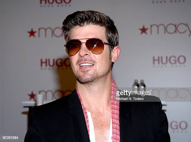 Robin Thicke promotes Hugo Boss' Element fragrance at Macy's Herald Square on October 22 2009 in New York City