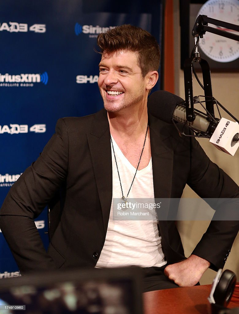 Robin Thicke visits 'Sway in the Morning' on Eminem's Shade 45 channel' at SiriusXM Studios on July 29, 2013 in New York City.