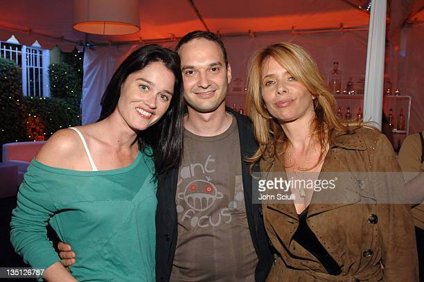 Robin Tunney Jeff Vespa and Rosanna Arquette during Jeff Vespa's Eat Me Art Show Opening at The Gallery at LoFi in Los Angeles California United...
