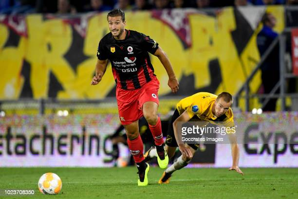 Robin van der Meer of Excelsior Arno Verschueren of NAC Breda during the Dutch Eredivisie match between NAC Breda v Excelsior at the Rat Verlegh...