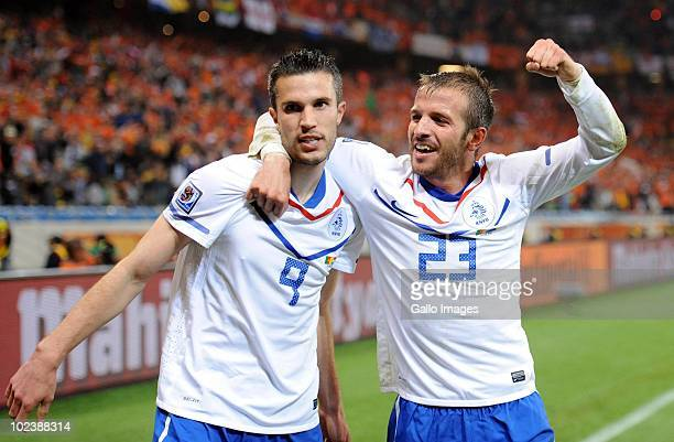 Robin van Persie and Rafeal van der Vaart of Netherlands celebrates during the 2010 FIFA World Cup South Africa Group E match between Cameroon and...