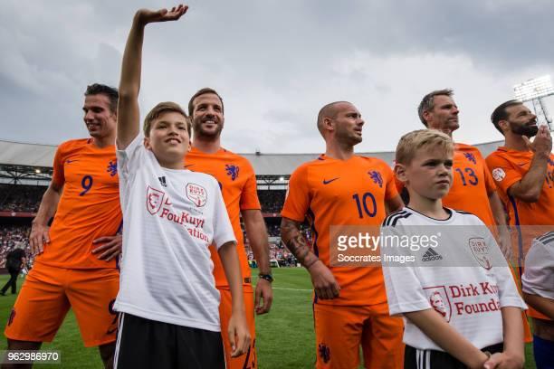 Robin van Persie Damian van der Vaart Wesley Sneijder Jayden Sneijder Andre Ooijer Ruud van Nistelrooy during the Dirk Kuyt Testimonial at the...