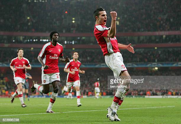 Robin van Persie of Arsenal celebrates his goal during the UEFA Champions League Quarter Final 2nd Leg match between Arsenal and Villarreal at the...