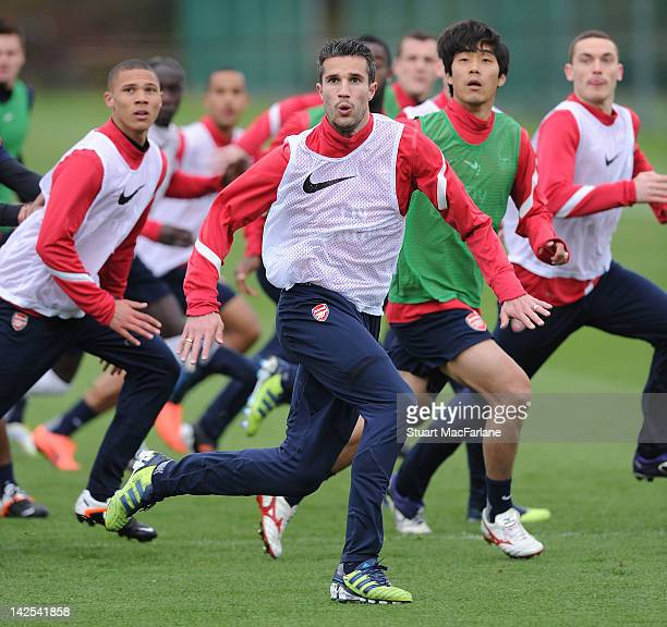 Robin van Persie of Arsenal during a training session at London Colney on April 7 2012 in St Albans England