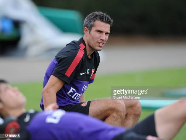 Robin van Persie of Arsenal during a training session at London Colney on July 17, 2012 in St Albans, England.