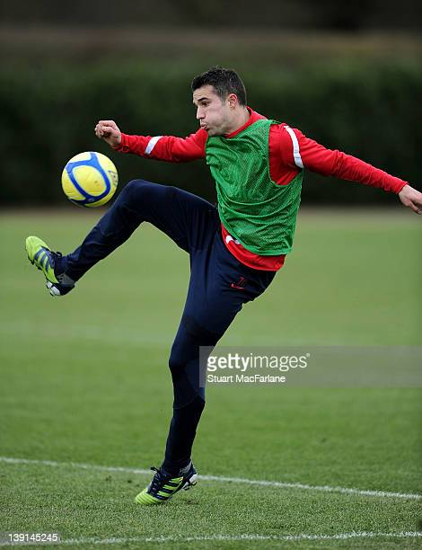 Robin van Persie of Arsenal in action during a training session at London Colney on February 17 2012 in St Albans England