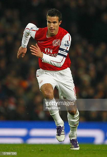 Robin van Persie of Arsenal in action during the FA Cup with Budweiser Fourth Round match between Arsenal and Aston Villa at Emirates Stadium on...