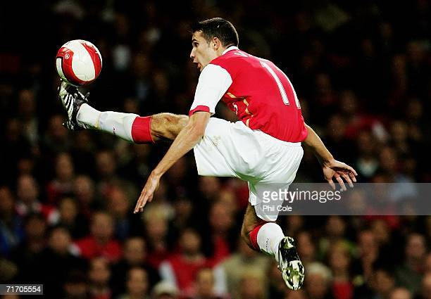 Robin Van Persie of Arsenal in action during the UEFA Champions League Qualification Third qualifying round second leg match between Arsenal and...