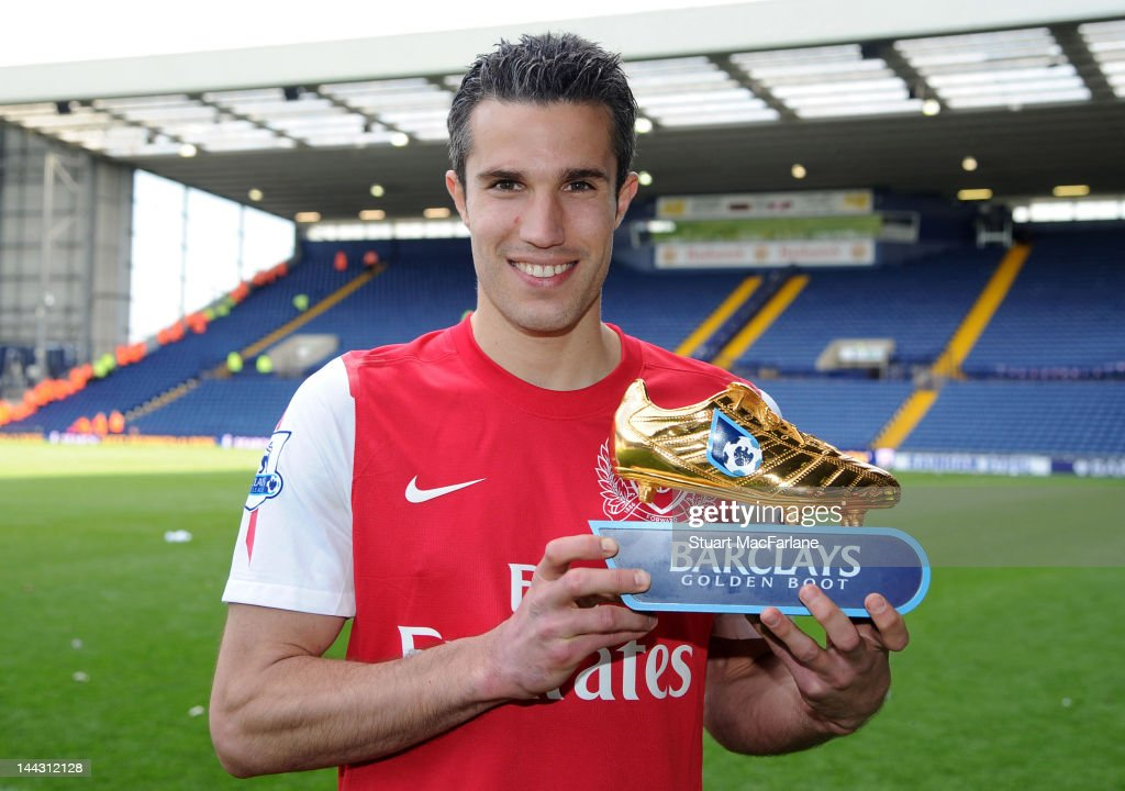 Robin van Persie of Arsenal poses with the golden boot after the Barclays Premier League match between West Bromwich Albion and Arsenal at The Hawthorns on May 13, 2012 in West Bromwich, England.