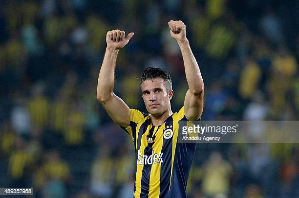 Robin van Persie of Fenerbahce celebrates after scoring a goal during the Turkish Spor Toto Super League soccer match between Fenerbahce and...