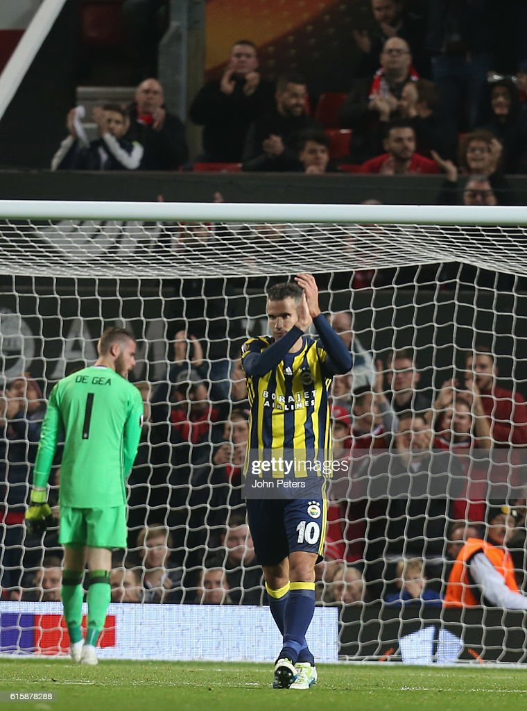 Robin van Persie of Fenerbahce celebrates scoring their first goal during the UEFA Europa League match between Manchester United FC and Fenerbahce SK at Old Trafford on October 20, 2016 in Manchester, England.