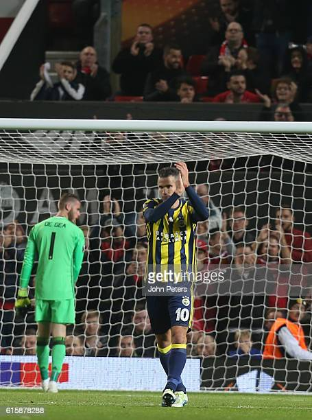 Robin van Persie of Fenerbahce celebrates scoring their first goal during the UEFA Europa League match between Manchester United FC and Fenerbahce SK...