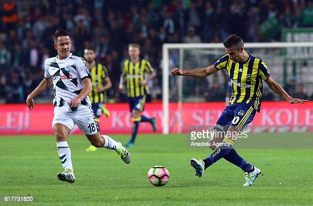 Robin Van Persie of Fenerbahce in action during Turkish Spor Toto Super Lig match between Atiker Konyaspor and Fenerbahce at Torku Arena in Konya,...