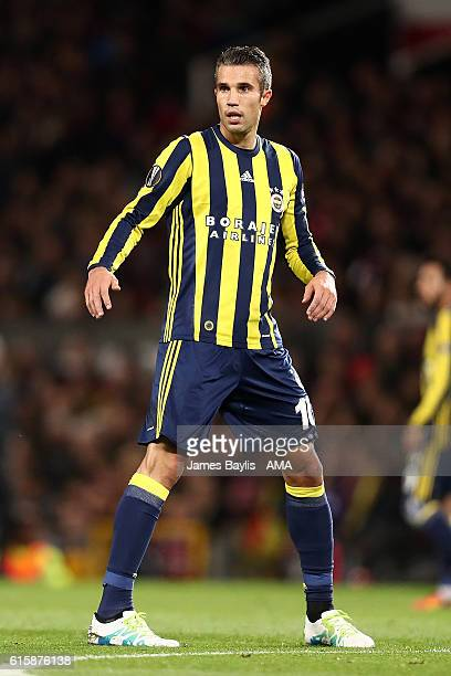 Robin van Persie of Fenerbahce looks on during the UEFA Europa League match between Manchester United FC and Fenerbahce SK at Old Trafford on October...