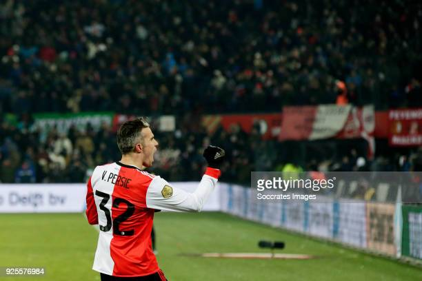 Robin van Persie of Feyenoord celebrates 20 during the Dutch KNVB Beker match between Feyenoord v Willem II at the Stadium Feijenoord on February 28...
