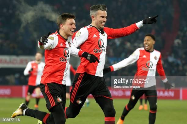 Robin van Persie of Feyenoord celebrates 20 with Steven Berghuis of Feyenoord during the Dutch KNVB Beker match between Feyenoord v Willem II at the...