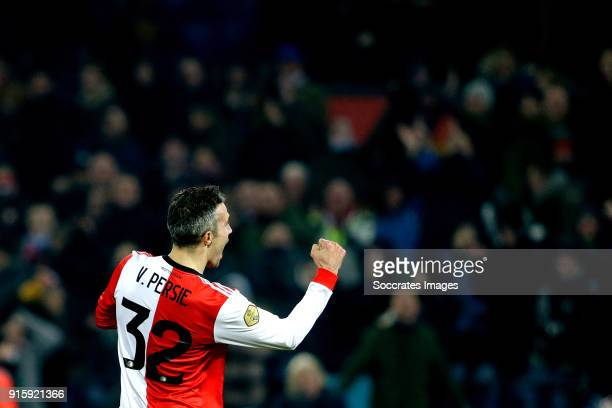 Robin van Persie of Feyenoord celebrates 30 during the Dutch Eredivisie match between Feyenoord v FC Groningen at the Stadium Feijenoord on February...