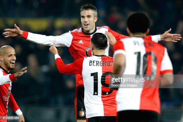 Robin van Persie of Feyenoord celebrates 30 with Karim El Ahmadi of Feyenoord Steven Berghuis of Feyenoord Tonny Vilhena of Feyenoord during the...