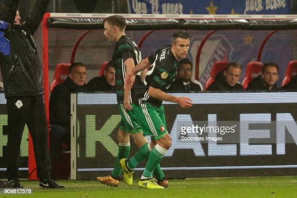 Robin van Persie of Feyenoord is entering the pitch for Dylan Vente of Feyenoord during the Dutch Eredivisie match between FC Utrecht v Feyenoord at...