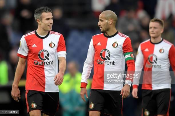 Robin van Persie of Feyenoord Karim El Ahmadi of Feyenoord celebrates the victory during the Dutch Eredivisie match between Feyenoord v ADO Den Haag...