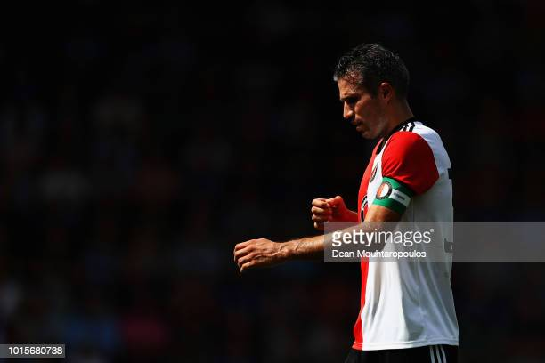 Robin van Persie of Feyenoord looks on during the Eredivisie match between De Graafschap and Feyenoord at Stadion De Vijverberg on August 12 2018 in...
