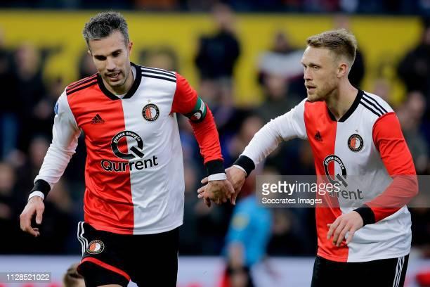 Robin van Persie of Feyenoord Nicolai Jorgensen of Feyenoord celebrate 10 during the Dutch Eredivisie match between Feyenoord v FC Emmen at the...