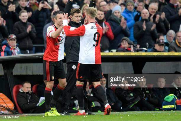 Robin van Persie of Feyenoord Nicolai Jorgensen of Feyenoord during the Dutch Eredivisie match between Feyenoord v ADO Den Haag at the Stadium...