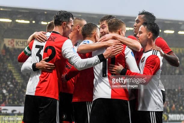 Robin van Persie of Feyenoord Sam Larsson of Feyenoord Renato Tapia of Feyenoord Calvin Verdonk of Feyenoord Steven Berghuis of Feyenoord celebrate...