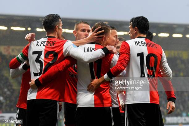 Robin van Persie of Feyenoord Sam Larsson of Feyenoord Steven Berghuis of Feyenoord celebrate 12 during the Dutch Eredivisie match between ADO Den...